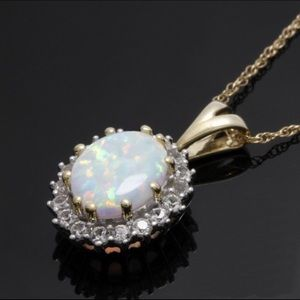 Jewelry - Solid 10k gold, 1.32 Opal &White Sapphire necklace